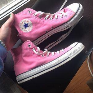 PINK Converse High Tops - Mens Sz 7, Womens size 9